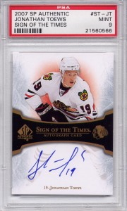 Jonathan Toews Certified Authentic Autograph