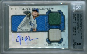 Clayton Kershaw BGS Certified Authentic Autograph - 2014 Topps Museum Collection - Signature Swatches Dual Relic