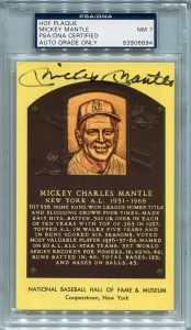 Mickey Mantle PSA/DNA Certified Authentic Autograph - Hall of Fame Plaque Postcard