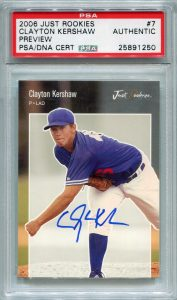 Clayton Kershaw PSA/DNA Certified Authentic Autograph - 2006 Just Rookies Preview